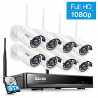 ZOSI 8CH HD 1080p Wireless Security IP Camera System 2MP WIFI NVR Kit Outdoor