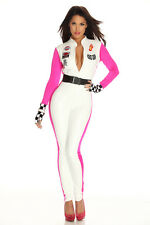 Ladies Racer Racing Sport Driver Costume Super Car Grid Girl Fancy Dress Outfits