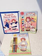 3 Raggedy Ann & Andy New Activity Paint Color Books + Paper Dolls by Peck Aubry