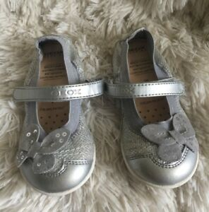 Geox Toddler Girls 26 Leather Silver Butterfly Glitter Mary Jane Shoes