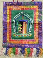 Green Kalachakra Buddha Dharma Banner Wall-Hanging Colorful Silk Embroidery