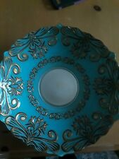 """15"""" decorative bowl light blue with gold scrolling design"""