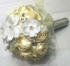 Handmade Roses Mixed Flowers Wedding Party Bridal Bouquet Satin Beaded Flowers
