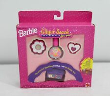 "Rare NEW Barbie Glitter Beach ""Make Up For You"" kit w/ Barbie caboodle 1992"