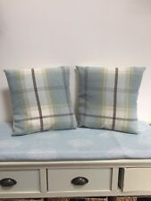 Duck Egg Blue/Green Balmoral Wool Checked Cushion Cover 16""