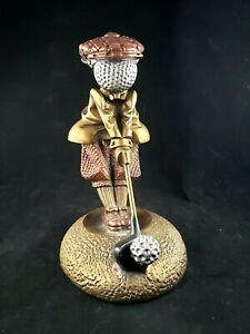 Austin Sculpture Bronze Tone Bogey Golf Golfer Statue # 4461 Golf Ball Head