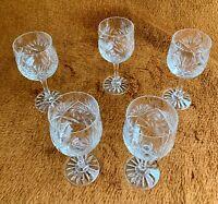Vintage Wine Glasses Sparkling Crystal Gorgeous Poland Hand Cut 8.5 oz Set of 5