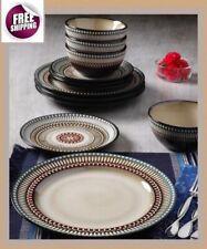 Set Dinnerware 12 Pcs Dishes Plate Bowl Vintage Classic Modern Glaze Brown New