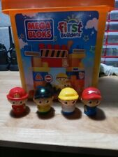 MEGA BLOKS FIRST BUILDERS TODDLER 4 TOY FIGURES AND BLOCKS w/ Case !!