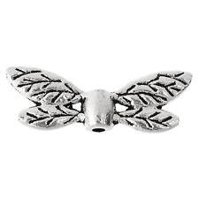 100PCs Metal Beads Silver Tone Dragonfly Wing 22mm x8mm Q2W5