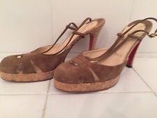 CHRISTIAN LOUBOUTIN Brown Suede  Slingback Platform Sandals Shoes Size EU 40