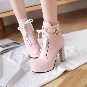 Womens Ankle Boots Block High Heel Zip Buckle Strap Casual Lace Up Riding Shoes