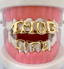 Custom THUG LIFE Hip Hop 14K Gold GP Teeth Top & Lower Bottom Grillz w/ Mold Kit