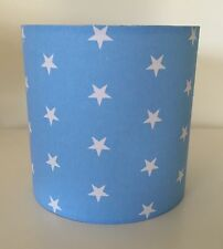 Sky Blue and White Star Lampshade Handmade In 25cm Drum, Nursery, Baby Bedroom