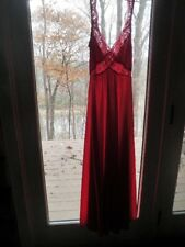 "VTG Olga Red Chevron Lace FULL Sweep BODYSILK Nightgown 34"" Bust P 9294 Qf"