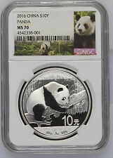 2016 China Panda NGC MS 70 S10Y 30g .999 Fine Silver Chinese Coin Graded 10 Yuan