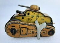 Vintage Old Rare Fire Sparkling Wind Up Small War Tank Litho Tin Toy Japan?