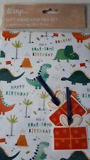 Gift Wrap Tag Set 2 sheets 2 tags dinosaur volcano design BNIP 50cm X 70cm