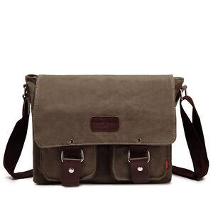 Mens Canvas bag Shoulder Messenger Travel Satchel Bags Cross body School laptop