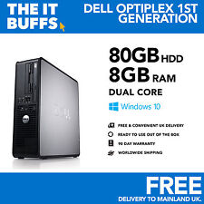 Windows 10 Escritorio Pc Ordenador Dell Optiplex Dual Core 8gb RAM 80gb HDD