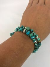 Carolyn Pollack Sterling Silver 925 Turquoise  stamp Pearl  beads Coil bracelet