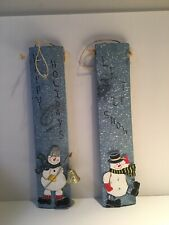 Happy Holidays Let It Snow Snowman Wood Wall Hangings Holiday Decorations