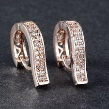 Women Chic 18K Rose Gold Filled Crystal Hoop Earrings Wedding Jewelry Gift 1Pair