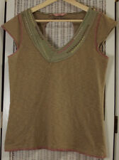 FAT FACE Cut-Out Back Summer Top UK12 Cap Sleeve Embroidered Stone Khaki Cotton