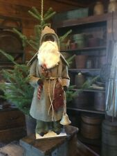 New listing Primitive Christmas German Style Green Wool Coat Santa Claus- Bell-Doll