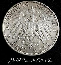 1911 Saxony Silver 3 Mark Coin - German States