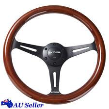 Universal 14'' 350mm Classic Wooden Steering Wheel Wood Grain Trim Chrome Spoke