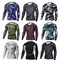 Mens Compression Top Athletic Running Basketball Long Sleeve Camo Print T shirts