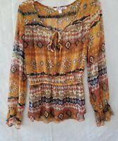 Nico LA womens sheer blouse size M multi orange print elastic waist peasent styl