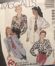 McCall's 3 Hour pattern 6693 Misses' Shirt size Xsm, Sml, Med (4-14) uncut