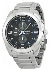 Seiko SSC213 SSC213P1 Mens Solar Chronograph Black Dial Steel 100m Watch