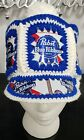 Vintage Pabst blue ribbon Beer cap 1970's - 80's yarn / tin can hat stretchable