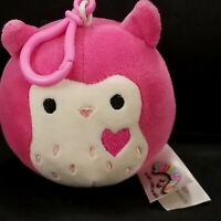 Squishmallows Kellytoy Pink OWL Keychain Key Belt Clip Plush Francesca  3.5""
