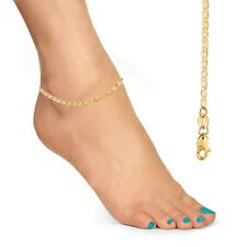 "1.6mm 10"" Inch Anklet Ankle Bracelet 14k Solid Gold Mariner Link Chain"