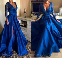 Sexy Split Deep V Neck Prom Dresses Long Sleeve Formal Satin Evening Party Gowns
