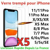 VITRE PROTECTION VERRE TREMPÉ FILM ÉCRAN IPHONE 8 7 6S PLUS 5 X XR XS MAX 11 PRO