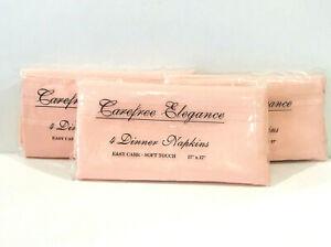 "Bardwil Linens Lot of 12 Carefree Elegance Pink Fabric Dinner Napkins 17"" x 17"""