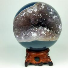 "3.01"" Polished agate sphere with crystal cluster center w/wood Stand Brazil A094"