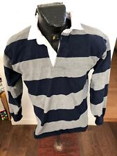MENS Rugby Jersey Barbarian Medium Navy and Gray Stripes