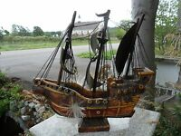 Vintage Fiber Optic Chalkware Boat Ship Lamp Light La Pinta Mid Century Columbus