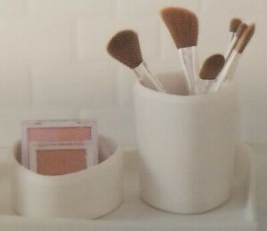 """NEW Set of 2 White Silhouette Stuff Cups,4.4""""H Bathroom/Makeup/Office Gorgeous!"""