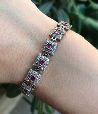 925 Sterling Silver Handmade Authentic Turkish Ruby Ladies Bracelet