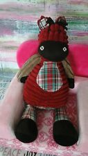 Jellycat London Baby toy  Horse Plush Red Brown Plaid Belly Corduroy Pony Zebra