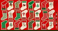 Mini Stocking Advent Calendar Fabric Panel Christmas Stockings Premium Cotton