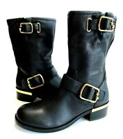 Vince Camuto Womens Wantilla Black Leather Moto Mid-Calf Gold Accent Boots 7.5