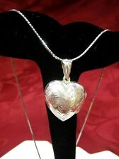 VINTAGE 925 STERLING SILVER ETCHED PUFFY HEART LOCKET PENDANT NECKLACE